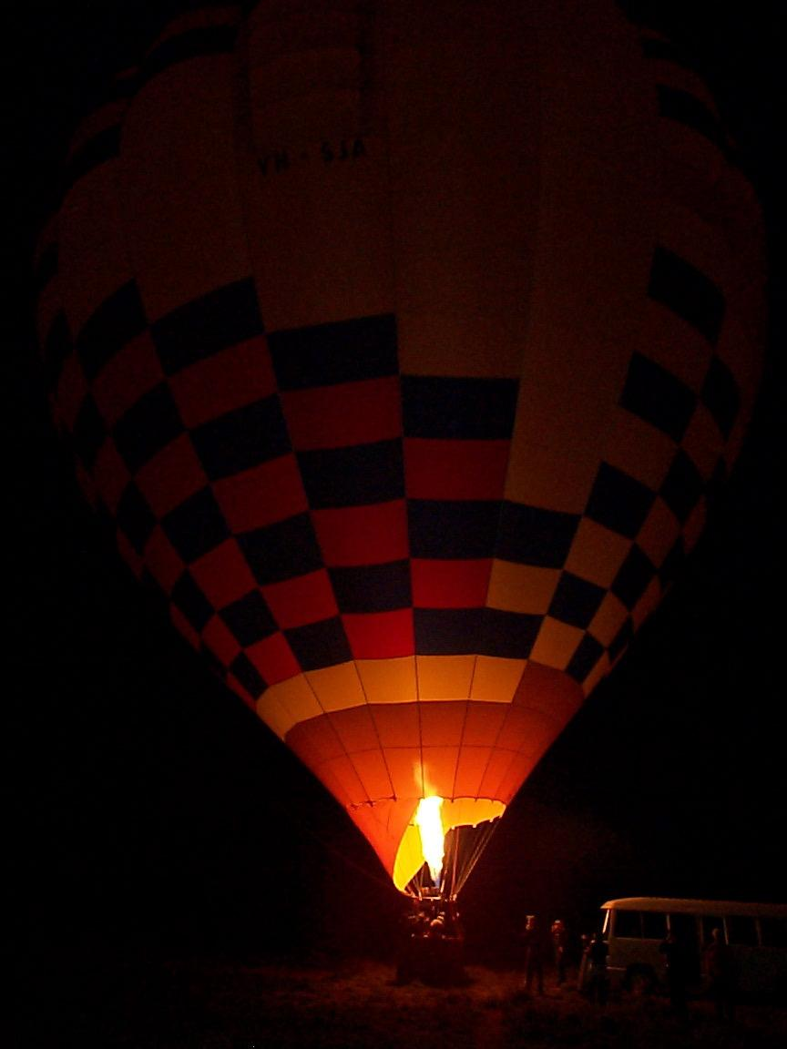 Hot Air Balloon being inflated NT, Australia